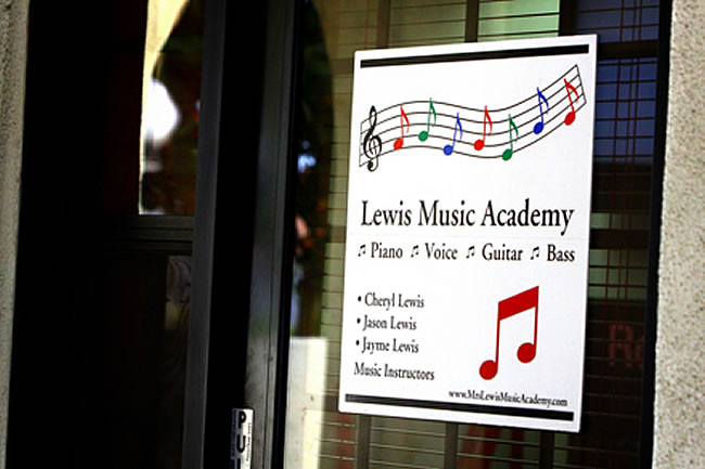Lewis Music Academy Lessons Sign